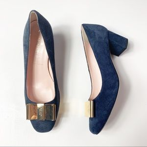 Kate Spade blue suede heels w/gold now toe